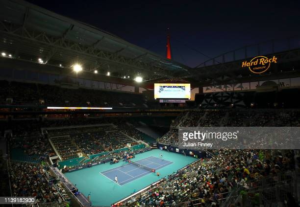 General view of Roger Federer of Switzerland against Denis Shapovalov of Canada during day twelve of the Miami Open tennis on March 29, 2019 in Miami...