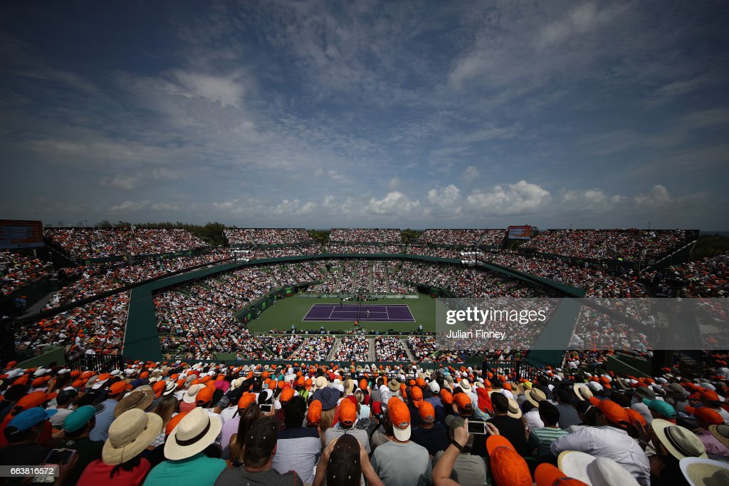 A general view of Roger Federer of Switzerland against Rafael Nadal of Spain in the final at Crandon Park Tennis Center on April 2, 2017 in Key Biscayne, Florida.