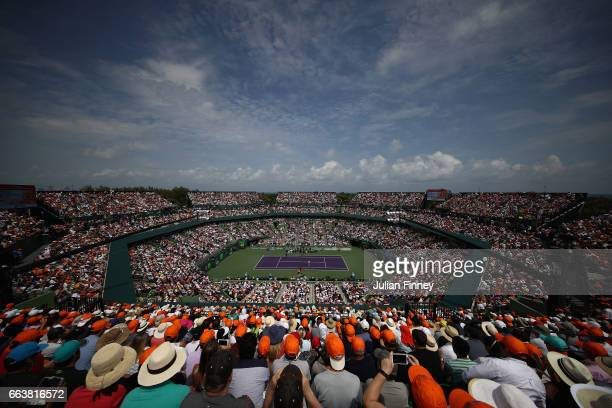 General view of Roger Federer of Switzerland against Rafael Nadal of Spain in the final at Crandon Park Tennis Center on April 2, 2017 in Key...
