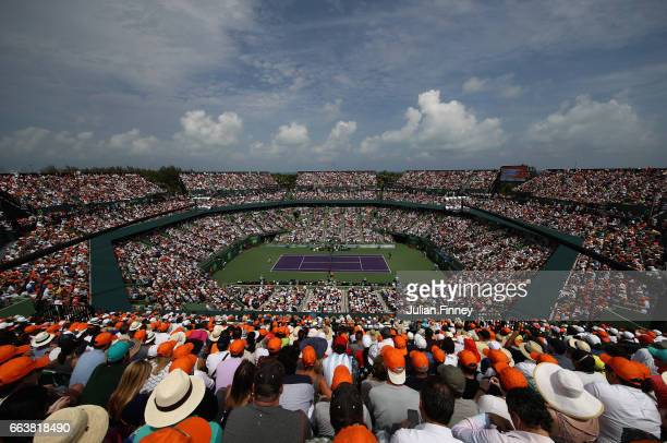A general view of Roger Federer of Switzerland against Rafael Nadal of Spain in the final at Crandon Park Tennis Center on April 2 2017 in Key...