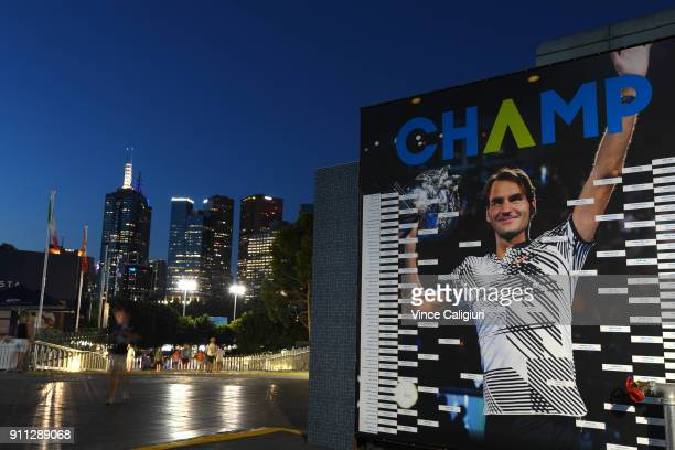 General view of Roger Federer on score board during Men's singles final match between Roger Federer of Switzerland and Marin Cilic of Croatia on day...