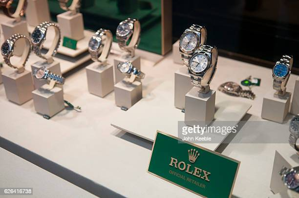 A general view of Rolex watches displayed in the window of a high class watch store in Fenchurch Sreet on November 22 2016 vin London United Kingdom