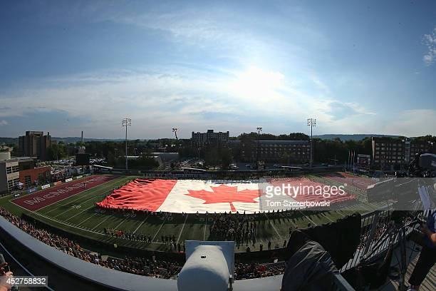 A general view of Ron Joyce Stadium during the singing of the Canadian anthem before the start of the Hamilton TigerCats CFL game against the Ottawa...