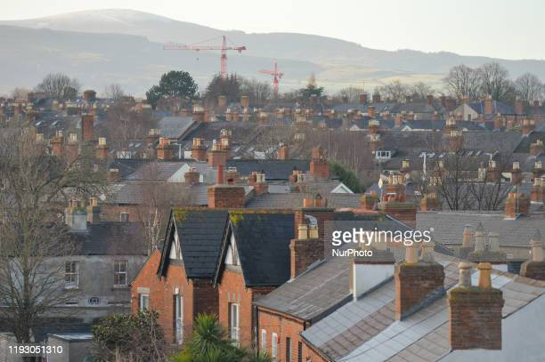 General view of roofs, chimneys and cranes in Dublin. On January 10 in Ranelagh, Dublin, Ireland.