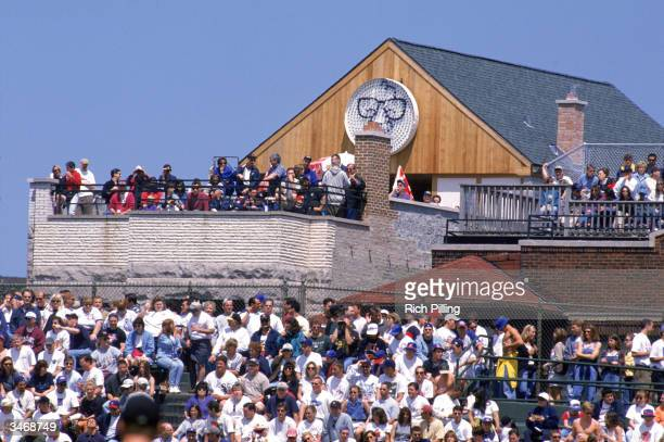 A general view of rooftop seats located over the left field bleachers at Wrigley Field on June 7 1998 in Chicago Illinois The rooftop seats are on...