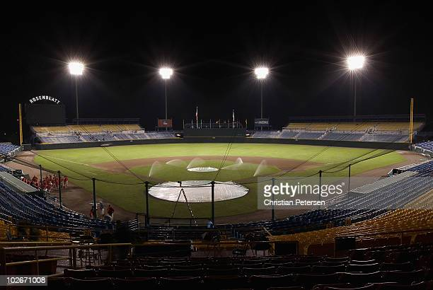 General view of Rosenblatt Stadium following game 2 of the men's 2010 NCAA College Baseball World Series between the UCLA Bruins and the South...