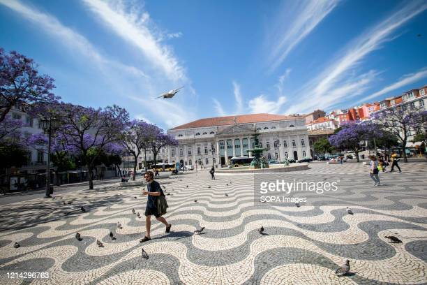 General view of Rossio Square amid coronavirus crisis. Confinement measures due to the pandemic are gradually being eased to try to relaunch the...