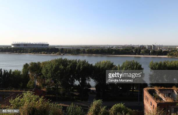 A general view of Rostov Arena is seen during a media tour of Russia 2018 FIFA World Cup venues on August 19 2017 in RostovonDon Russia