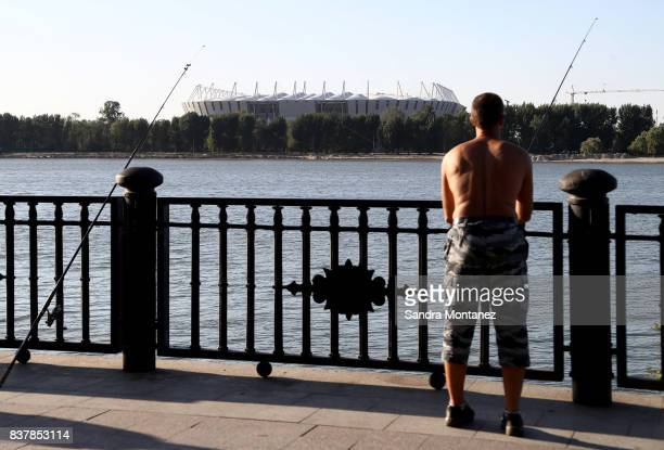 General view of Rostov Arena is seen during a media tour of Russia 2018 FIFA World Cup venues on August 19 2017 in RostovonDon Russia