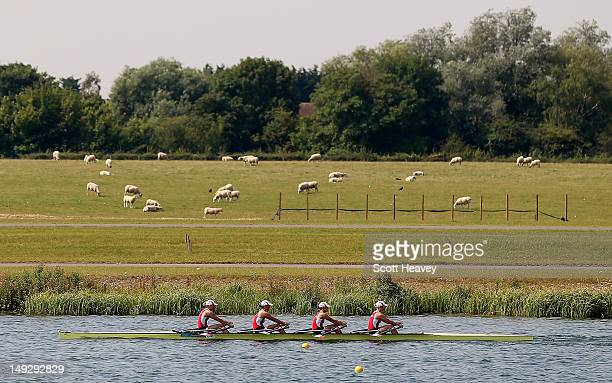 A general view of rowers on the lake during a practice session on July 26 2012 in Dorney near Windsor England
