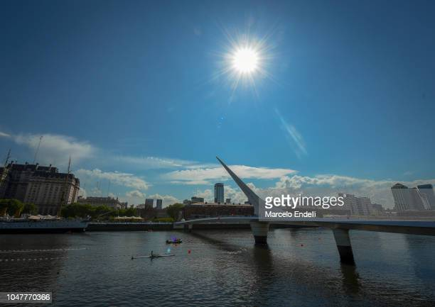 General view of rowing stage at Dock 3 of Puerto Madero during day 2 of Buenos Aires 2018 Youth Olympic Games at Dock 3 Urban Park Puerto Madero on...