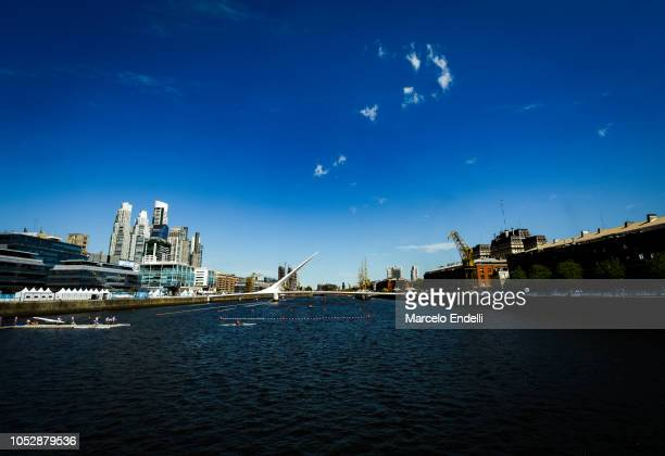 General view of rowing venue in Dock 3 at Urban Park Puerto Madero during day 3 of Buenos Aires 2018 Youth Olympic Games at Urban Park Puerto Madero...