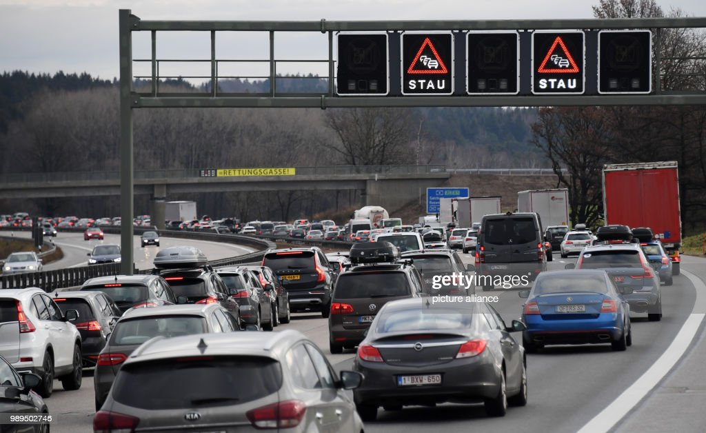 Christmas holiday traffic on the A8 motorway in Bavaria : News Photo