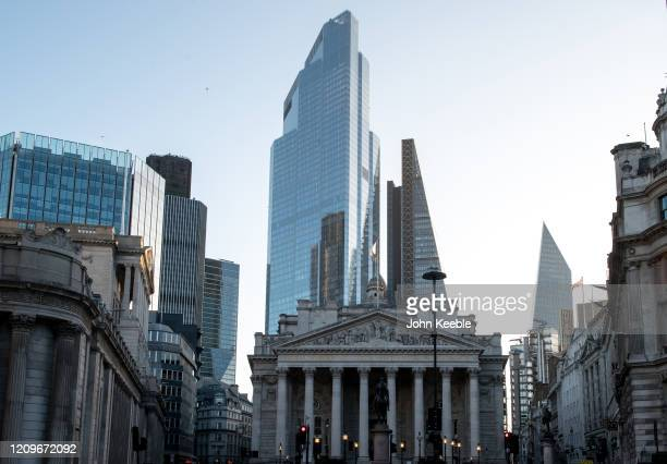 A general view of Royal Exchange at Bank with commercial skyscrapers Tower 42 22 Bishopsgate The Leadenhall Building 122 Leadenhall Street and The...