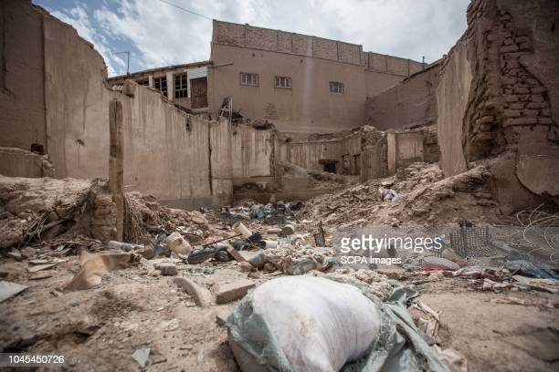 A general view of rubbles of traditional houses set to be completely demolish to make way for new homes in the Kashgar old town northwestern Xinjiang...