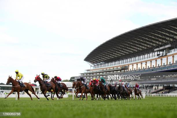 General view of runners and riders in the Copper Horse Handicap during Day One of Royal Ascot at Ascot Racecourse on June 16, 2020 in Ascot, England.