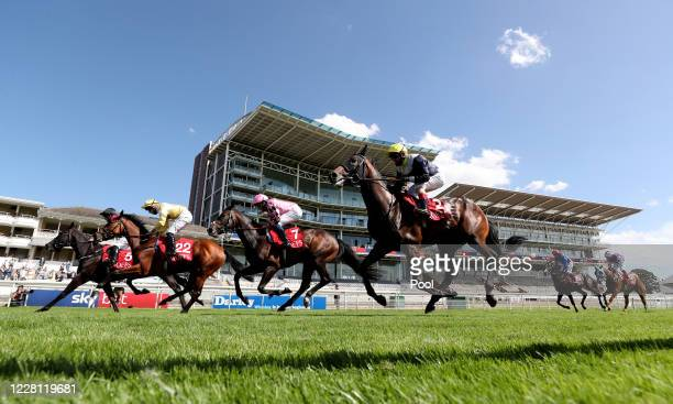 General view of runners and riders in the Goffs UK Premier Yearling Stakes during day two of the Yorkshire Ebor Festival at York Racecourse on August...