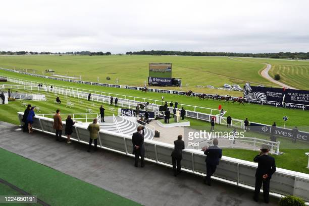 General view of Runners and riders in the Investec Surrey Stakes at Epsom Racecourse on July 04, 2020 in Epsom, England. The famous race meeting will...