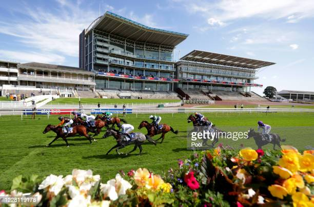 General view of runners and riders in the Sky Bet Lowther Stakes during day two of the Yorkshire Ebor Festival at York Racecourse on August 20, 2020...