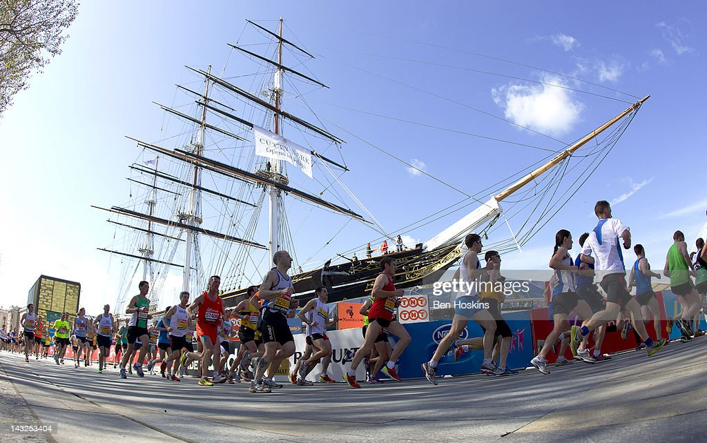 A general view of runners as they run past the Cutty Sark during the Virgin London Marathon 2012 on April 21, 2012 in London, England.