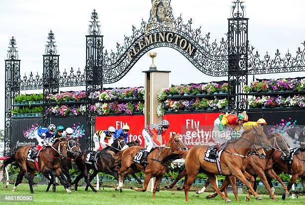 General view of runners crossing finishing line with last years Melbourne Cup winner Protectionist with Craig Williams aboard in Race 7 the...