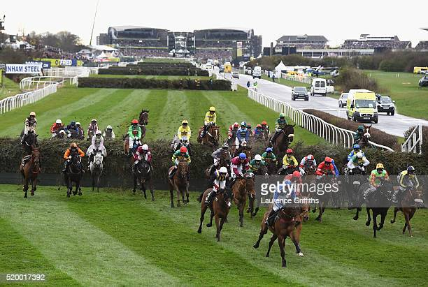 A general view of runners during the 2016 Crabbie's Grand National Steeple Chase at Aintree Racecourse on April 9 2016 in Liverpool England