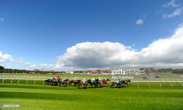 A general view of runners racing down the back straight at Chester racecourse on May 09 2014 in Chester England