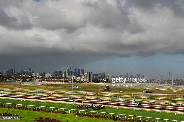 General view of runners racing up the straight in Race 3 during Melbourne Racing at Flemington Racecourse on June 11 2016 in Melbourne Australia
