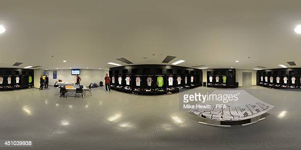 A general view of Russia dressing room before the 2014 FIFA World Cup Brazil Group H match between Belgium v Russia at Maracana on June 22 2014 in...