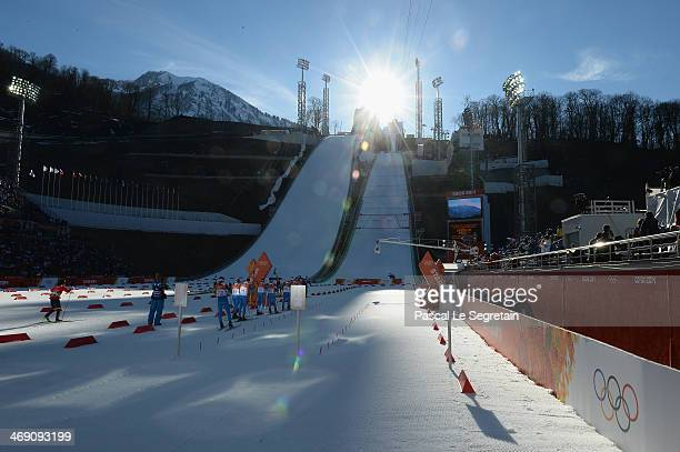 General view of Russki Gorki Nordic Combined Skiing Stadium on day 5 of the Sochi 2014 Winter Olympics on February 12 2014 in Sochi Russia