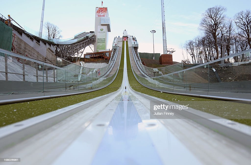 A general view of RusSki Gorki Ski Jump runway which will be used for the Ski Jumping event at the Sochi Winter Olympics 2014 during the FIS Ski Jumping World Cup at the RusSki Gorki venue on December 9, 2012 in Sochi, Russia.