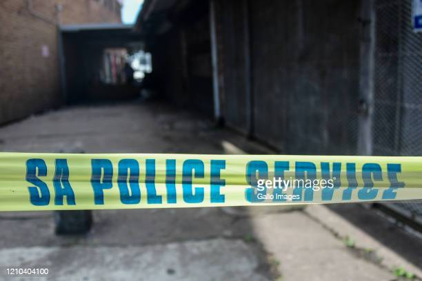 General view of SA police service tape cordoning off access to the shops on April 16, 2020 in Durban, South Africa. According to media reports, six...