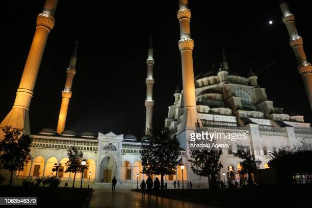 A general view of Sabanci Central Mosque during a religious ceremony within the celebrations for Mawlid alNabi the birth anniversary of Muslims'...