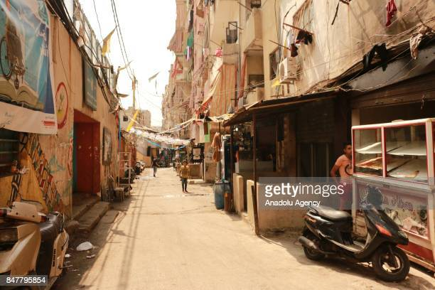 A general view of Sabra and Shatila Palestinian refugee camp's street where Lebanese right wing extremist Christian Militias under Israeli army...