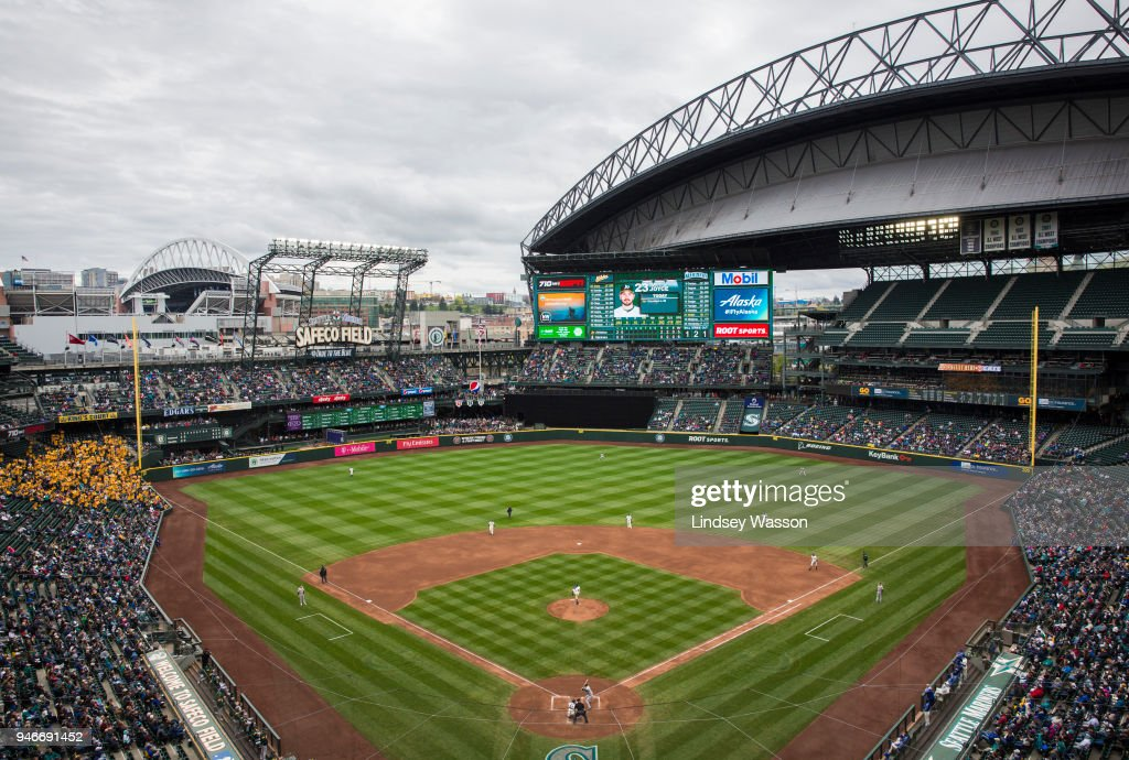 A general view of Safeco Field as Felix Hernandez #34 of the Seattle Mariners pitches against the Oakland Athletics on April 15, 2018 in Seattle, Washington. The Oakland Athletics beat the Seattle Mariners 2-1. All players are wearing #42 in honor of Jackie Robinson Day.