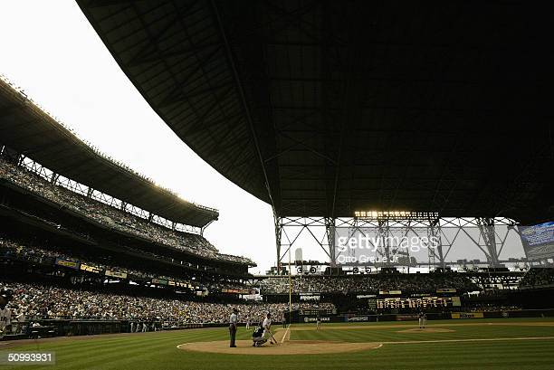 General view of Safeco Field during the game between the Chicago White Sox and the Seattle Mariners on June 5 2004 in Seattle Washington The Mariners...