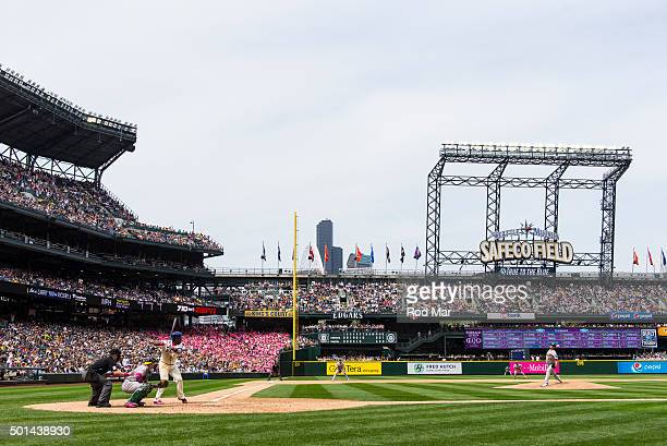 A general view of Safeco Field during the game between the Seattle Mariners and the Oakland Athletics on Sunday May 10 2015 in Seattle Washington
