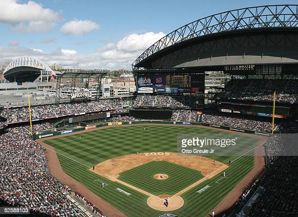 General view of Safeco Field during the game between the Seattle Mariners and the Minnesota Twins on April 4 2005 at Safeco Field in Seattle...