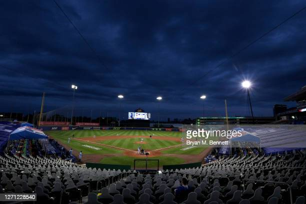 General view of Sahlen Field during a game between the Toronto Blue Jays and the New York Yankees on September 07, 2020 in Buffalo, New York. The...