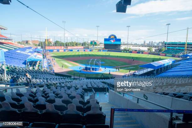General view of Sahlen Field during batting practice prior to the Major League Baseball game between the Miami Marlins and the Toronto Blue Jays on...