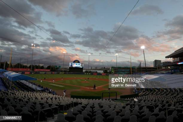 General view of Sahlen Field during the fourth inning of a game between the Toronto Blue Jays and the Baltimore Orioles on August 29, 2020 in...