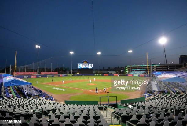 General view of Sahlen Field during the third inning of a game between the Toronto Blue Jays and the New York Yankees on September 21, 2020 in...