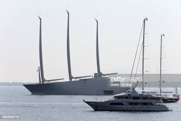 A general view of 'Sailing Yacht A' owned by billionaire Andrei Melnitschenko during the 70th annual Cannes Film Festival on May 26 2017 in Cannes...