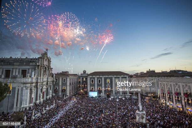 General view of Saint Agatha worshippers during the religious festival of Sant'Agata in Catania on February 5 2017 in Catania Italy The Religious...