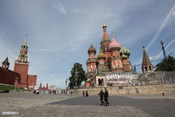 General view of Saint Basils Cathedral in the Red Square on June 28, 2017 in Moscow, Russia. It was built from 1555–61 on orders from Ivan the...