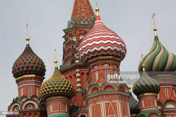 A general view of Saint Basils Cathedral in the Red Square on June 28 2017 in Moscow Russia It was built from 1555–61 on orders from Ivan the...