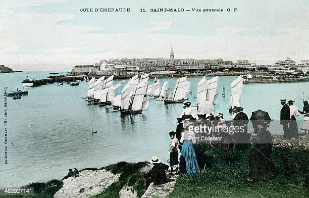 General view of Saint Malo Brittany France 20th Century Spectators watching a yacht race