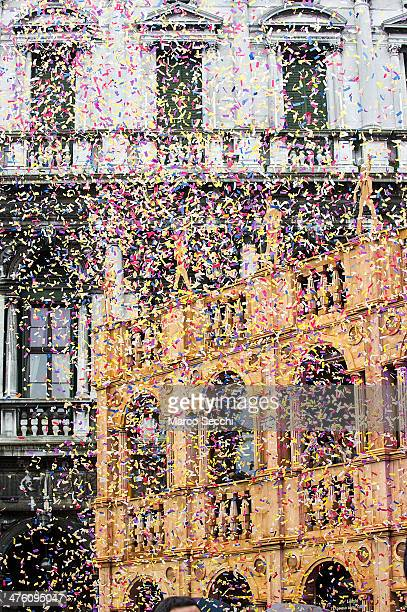 A general view of Saint Mark's Square with confetti during the 'Flight of the Eagle' at Venice Carnival on March 2 2014 in Venice Italy The 2014...