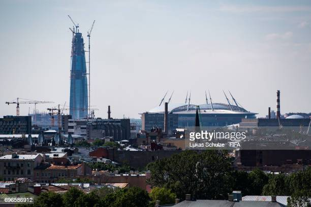 General view of Saint Petersburg and the Saint Petersburg Stadium ahead of the Confederations Cup 2017 on June 16 2017 in St Petersburg Russia