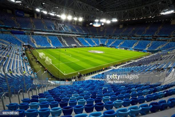 General view of Saint Petersburg stadium before UEFA Europa League Round of 16 match between Zenit St Petersburg and RB Leipzig at the Krestovsky...